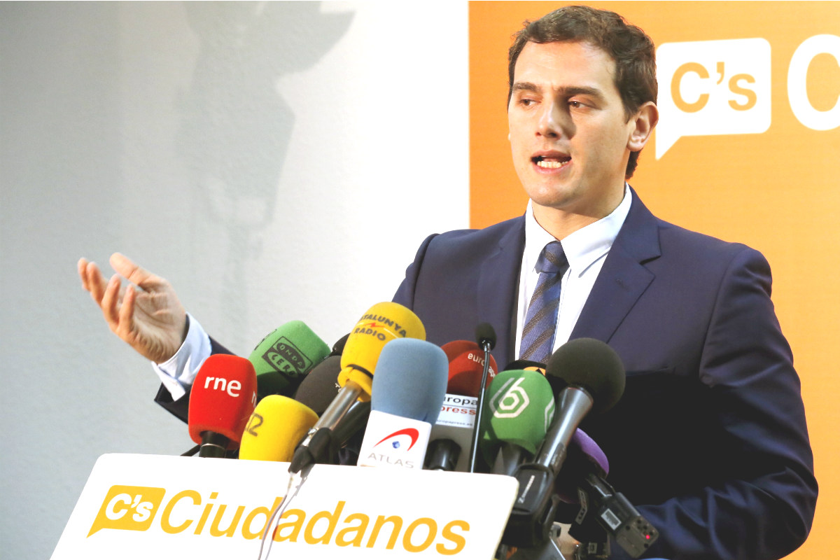 Albert Rivera en la sede de Ciudadanos en Madrid