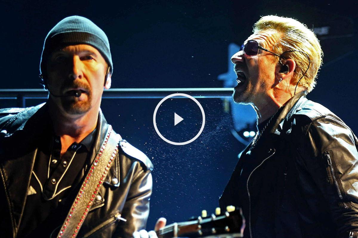 The Edge y Bono durante el concierto este lunes. (Foto: EFE)