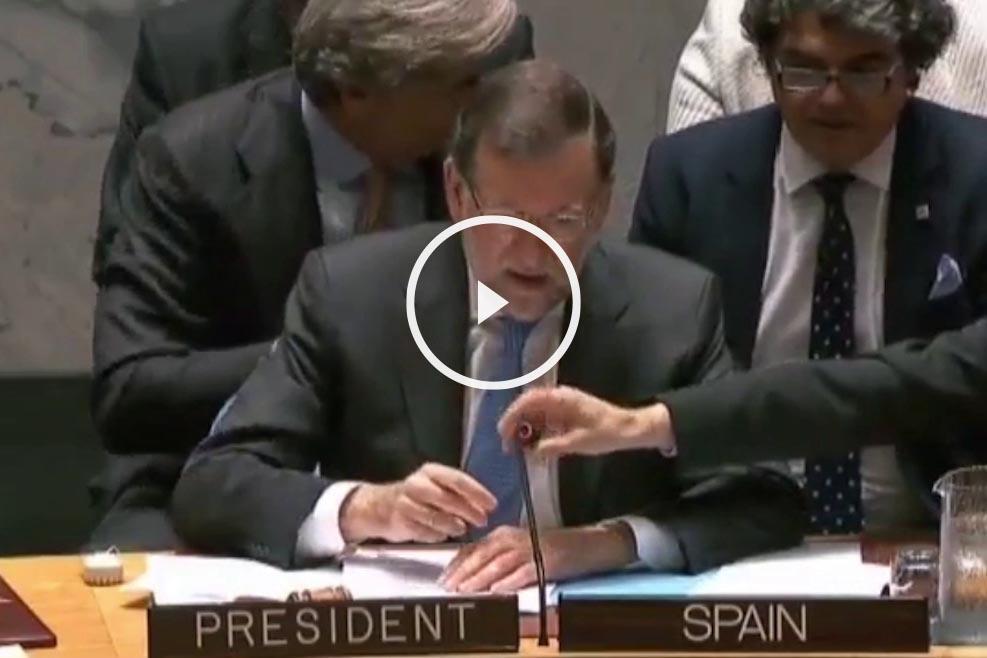 Rajoy antes de su discurso ante el Consejo de Seguridad de la ONU.
