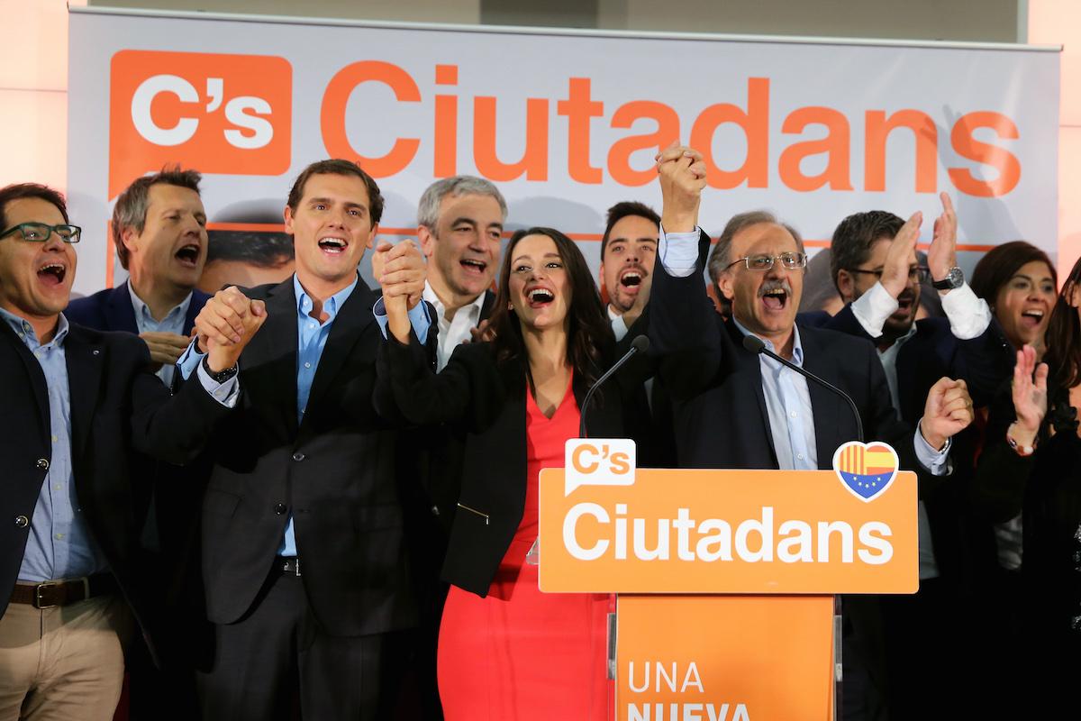 Albert Rivera, Inés Arrimadas y otros líderes de Ciudadanos celebran su resultado electoral el 27S  (Foto: APF)