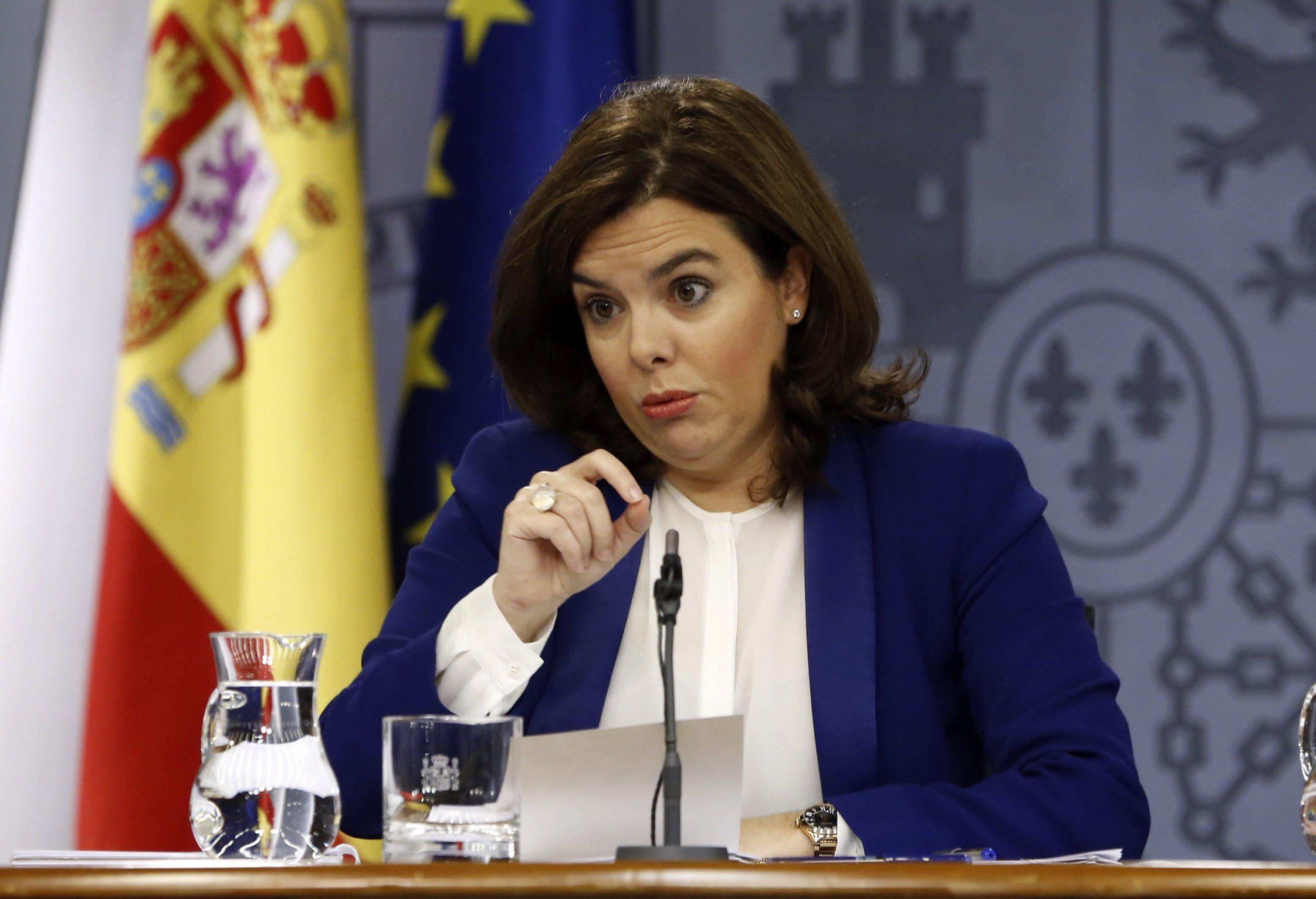 Soraya Sáenz de Santamaría en rueda de prensa tras el Consejo de Ministros. (FOTO:EFE)
