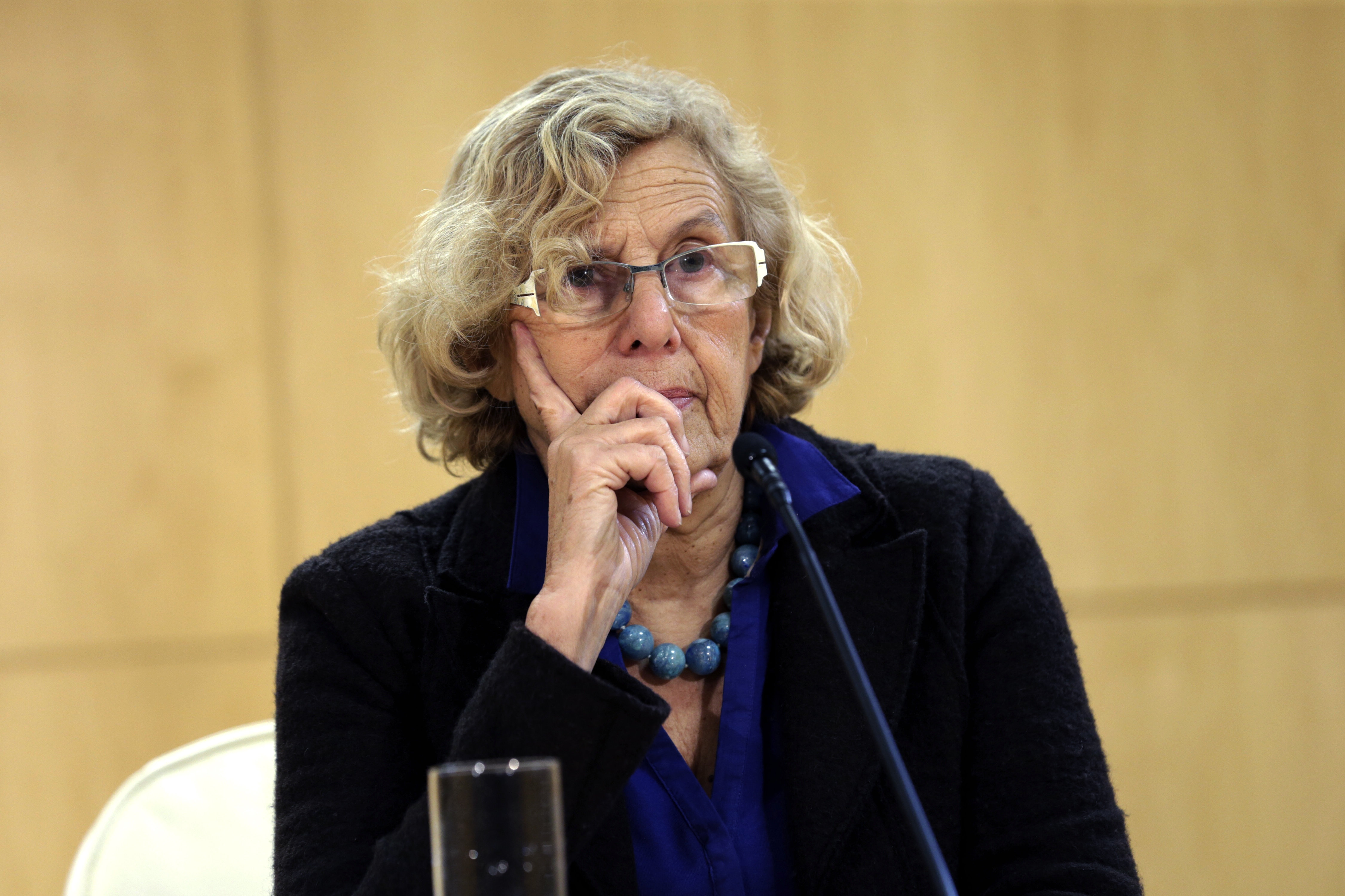 Manuela Carmena, durante una rueda de prensa ofrecida en el Ayuntamiento de Madrid (Foto: Efe)