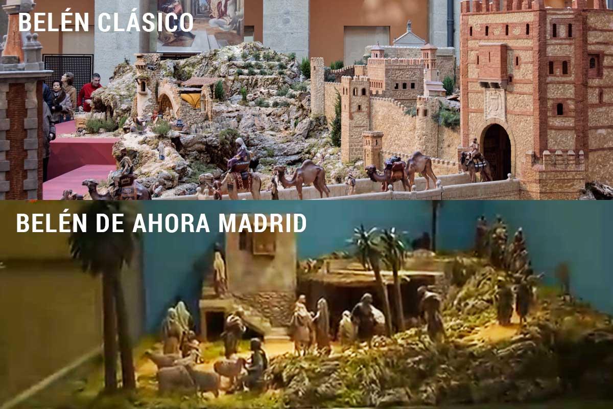 Así era antes el tradicional Belén y así lo ha dejado Carmena este año (Imagen: TeleMadrid/NavidadDigital.com)