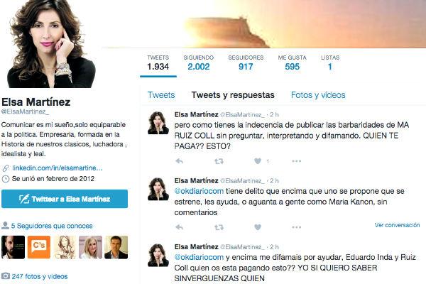 Tuits difundidos esta mañana en los que la ex directora de Ciudad de la Luz, Elsa Martínez, insulta a los periodistas de OkDiario