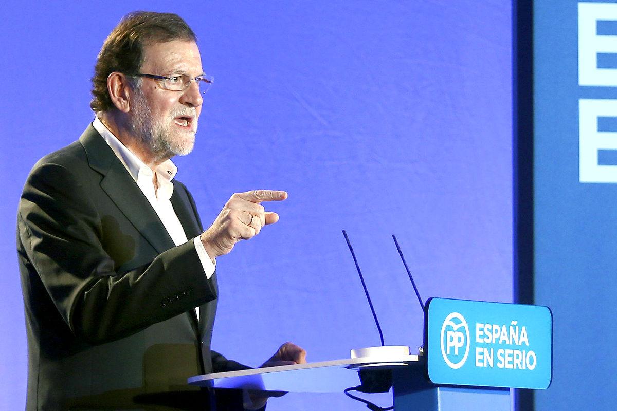El presidente Mariano Rajoy, durante un acto celebrado por el PP en Barcelona (Foto: Efe)