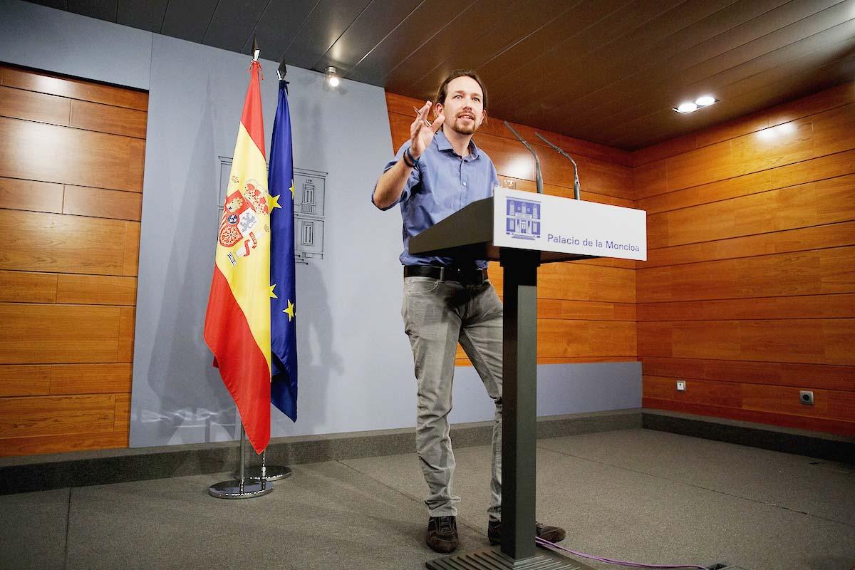 Pablo Iglesias el pasado viernes en La Moncloa, tras reunirse con el presidente Rajoy (Foto: Getty)