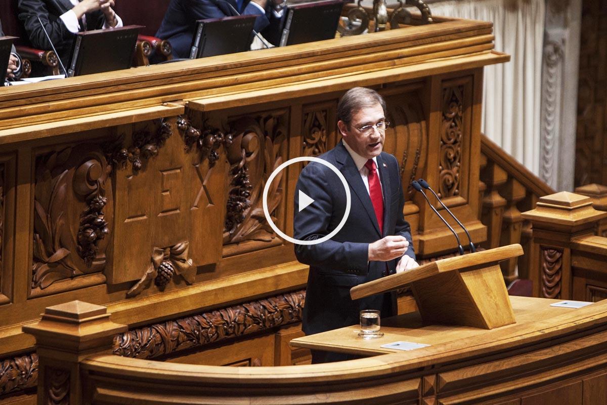 Passos Coelho, durante su intervención en el debate en el que su gobierno ha sido tumbado (Foto: Getty)