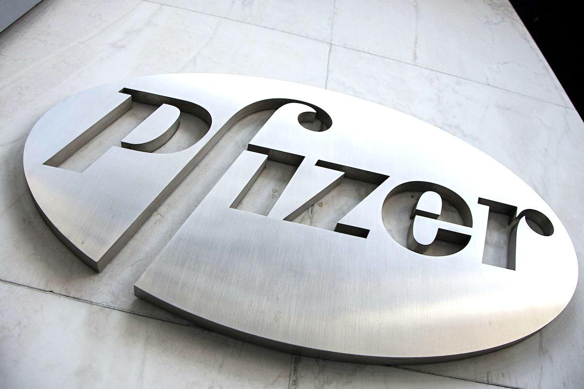 Logotipo de la farmacéutica norteamericana Pfizer.