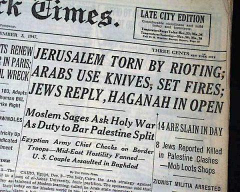 Portada del New York Times del 3 de diciembre de 1947 que da cuenta de los ataques árabes con cuchillos a ciudadanos judíos.