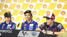 Rossi, Márquez y Lorenzo durante la rueda de prensa oficial del GP de Malasia (Getty)