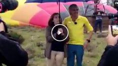 Soraya Sáenz de Santamaría y Jesús Calleja, tras el accidente de globo