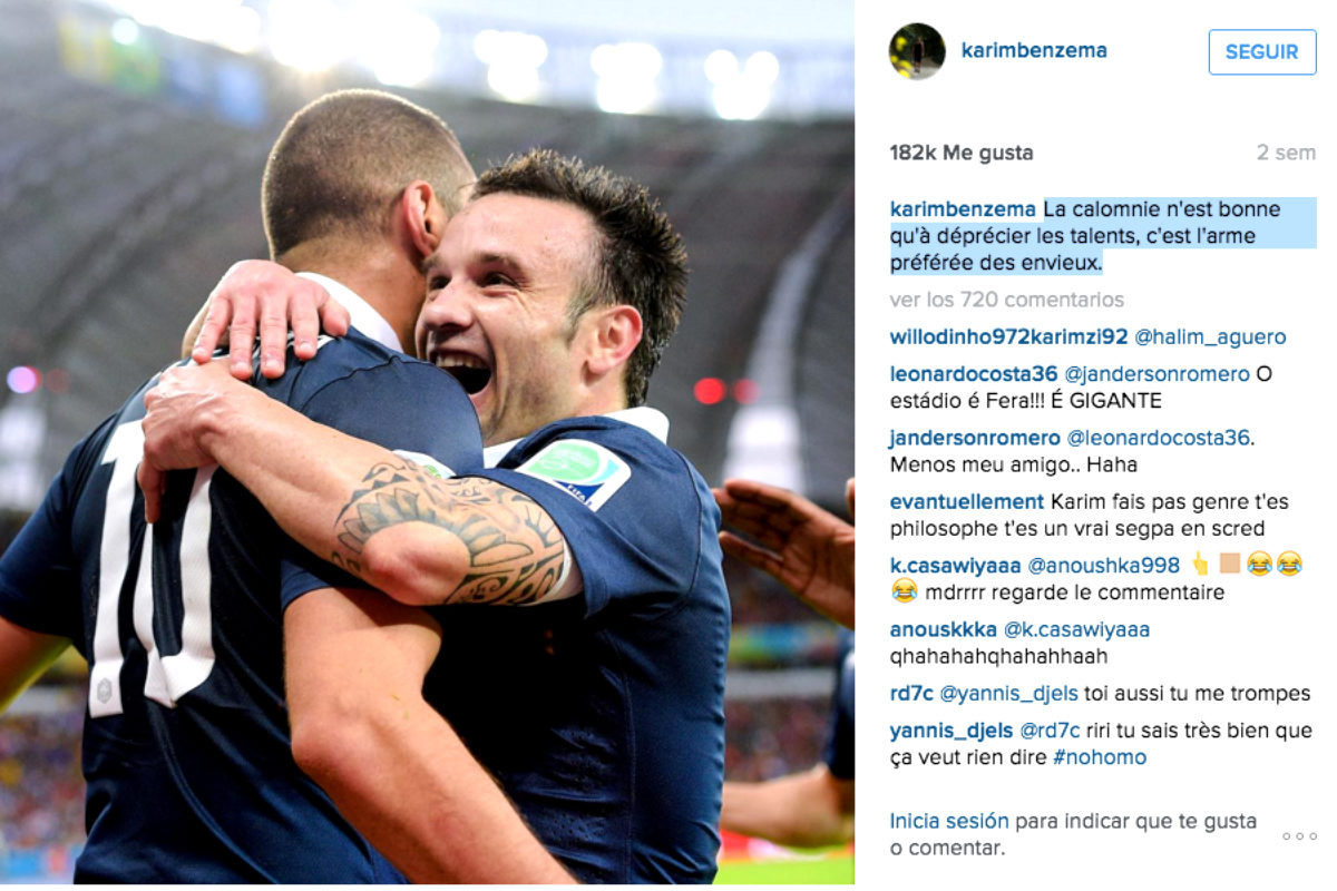 Benzema celebra un gol de la selección francesa con Valbuena. (Instagram)