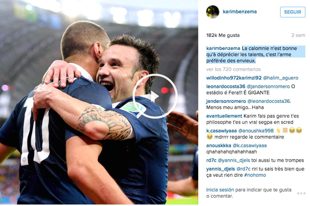 Benzema celebra un gol de la selección francesa con Valbuena. (Foto: Instagram)