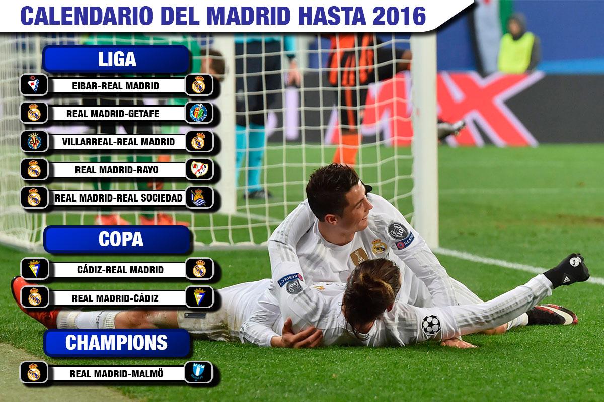 El calendario del Real Madrid hasta final de 2015.