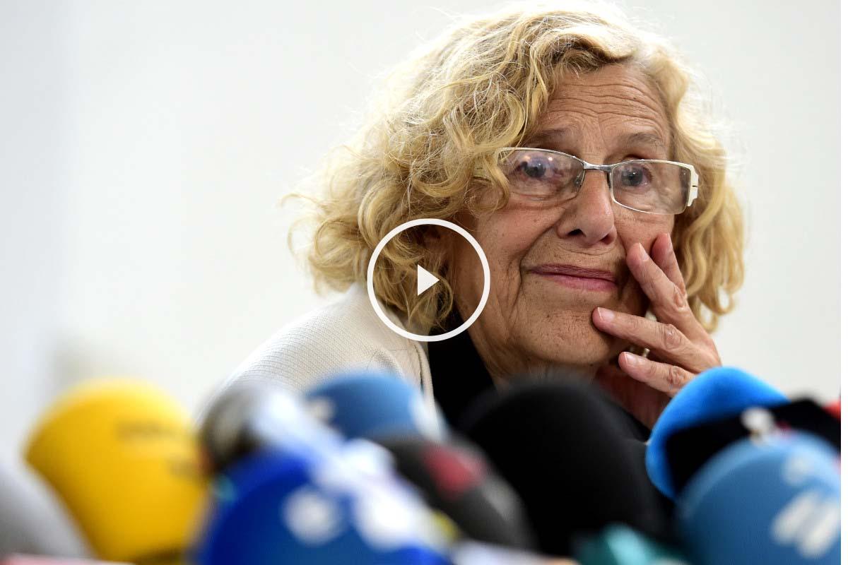 Manuela Carmena, alcaldesa de Madrid, en una rueda de prensa. (AFP)