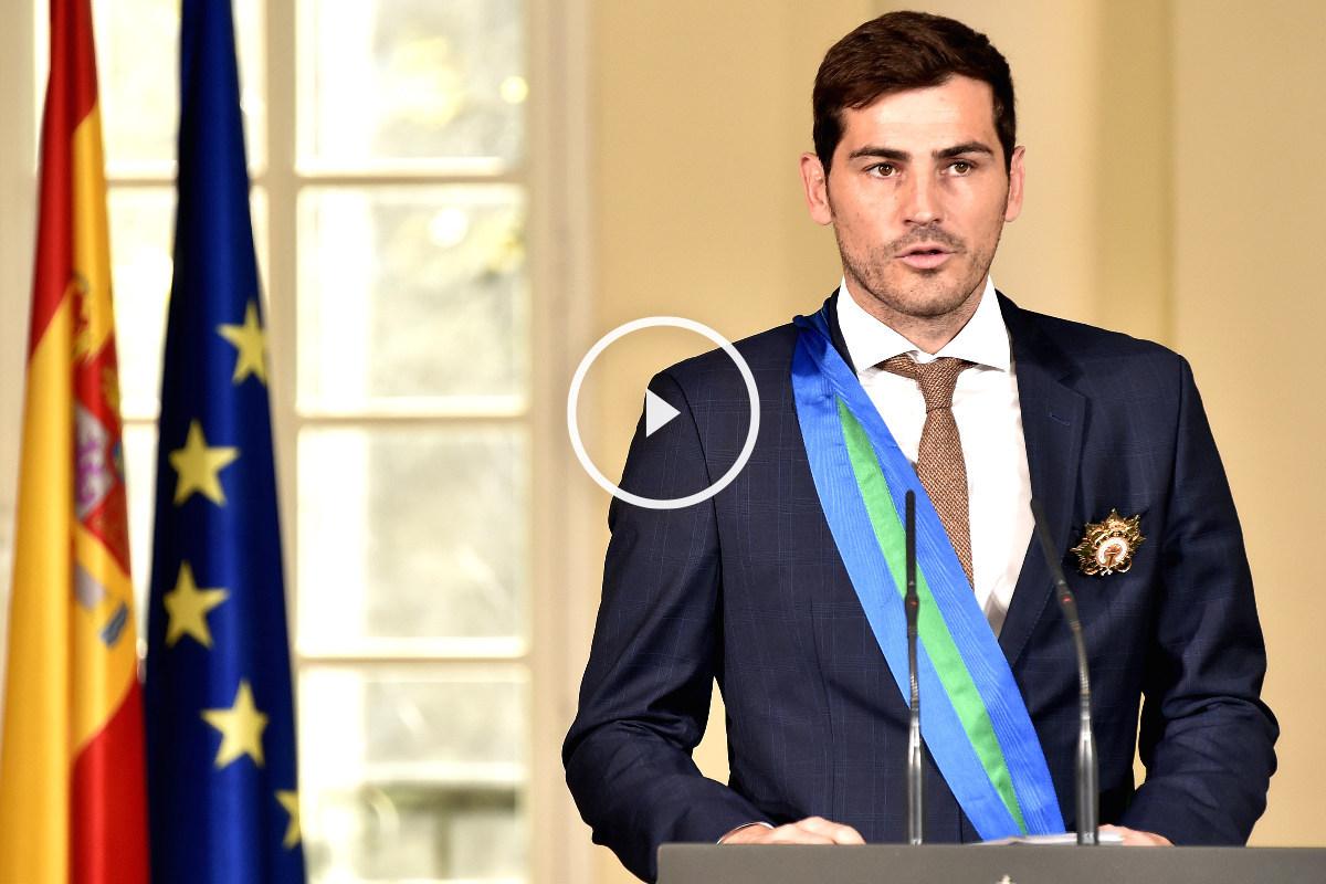 Casillas, en su discurso tras recibir la Medalla al Mérito Deportivo. (AFP)