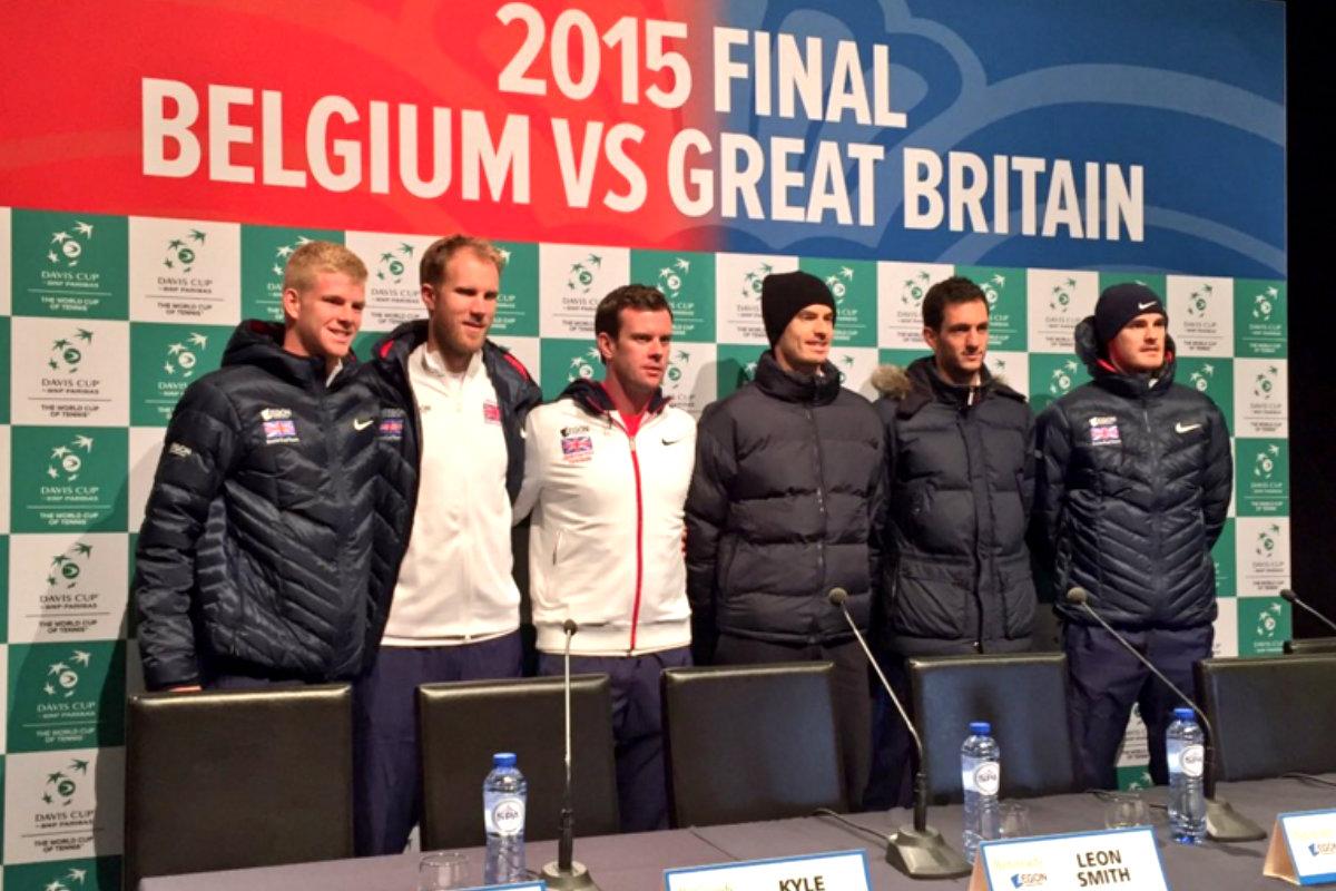 El equipo de Gran Bretaña, con Andy Murray a la cabeza, durante la presentación de la final de la Copa Davis (Foto: @CopaDavis)