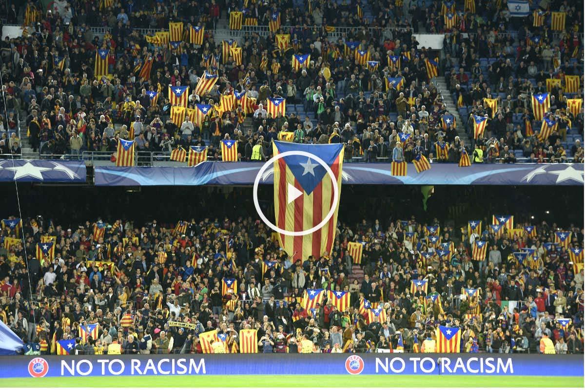 El Camp Nou se inundó de esteladas en el partido ante el BATE. (AFP)
