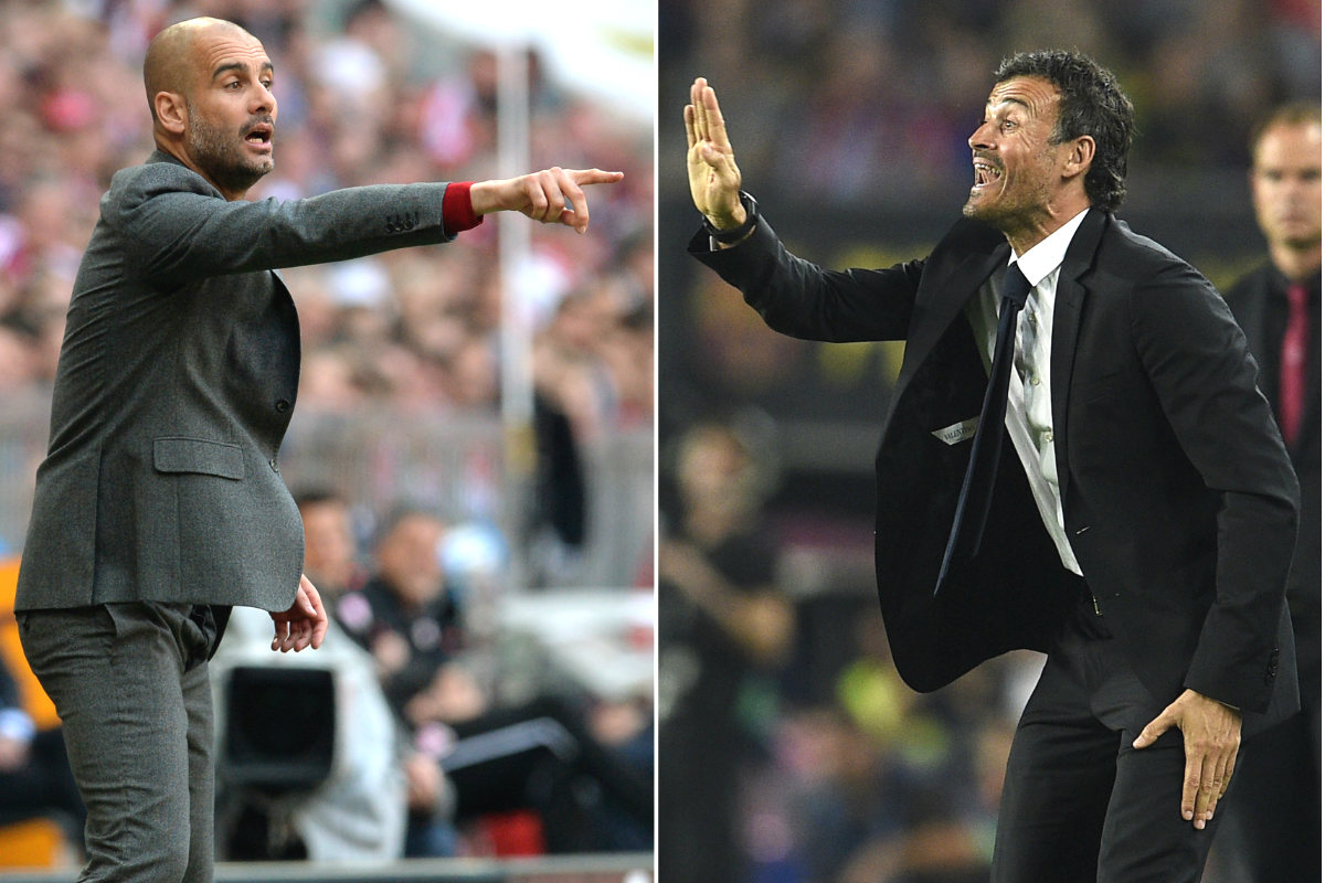 Pep Guardiola, técnico del Bayern, y Luis Enrique, entrenador del Barça. (AFP)