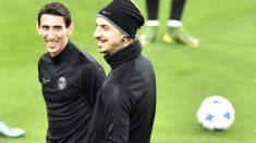 Ibrahimovic y Di María, ayer en el entrenamiento del PSG en el Bernabéu. (AFP)