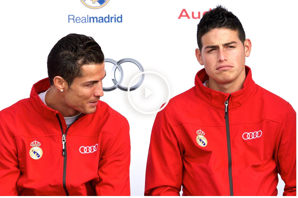Cristiano Ronaldo y James Rodríguez, en el acto de entrega de los Audi del año pasado. (Getty)
