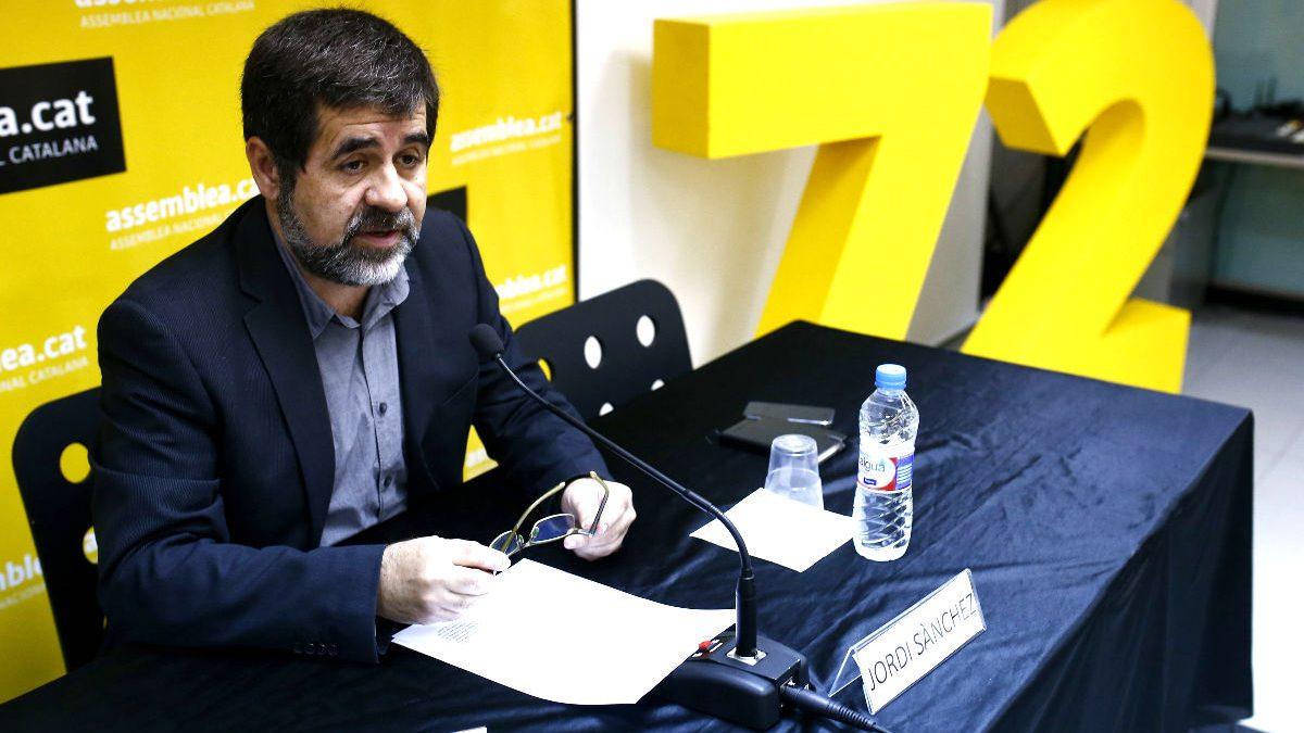 El presidente de la ANC, Jordi Sánchez, en una rueda de prensa (Foto: Efe)