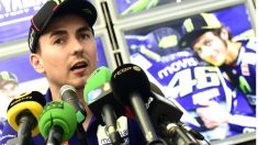 Jorge Lorenzo, en la rueda de prensa de esta tarde en el Circuito de Cheste. (AFP)