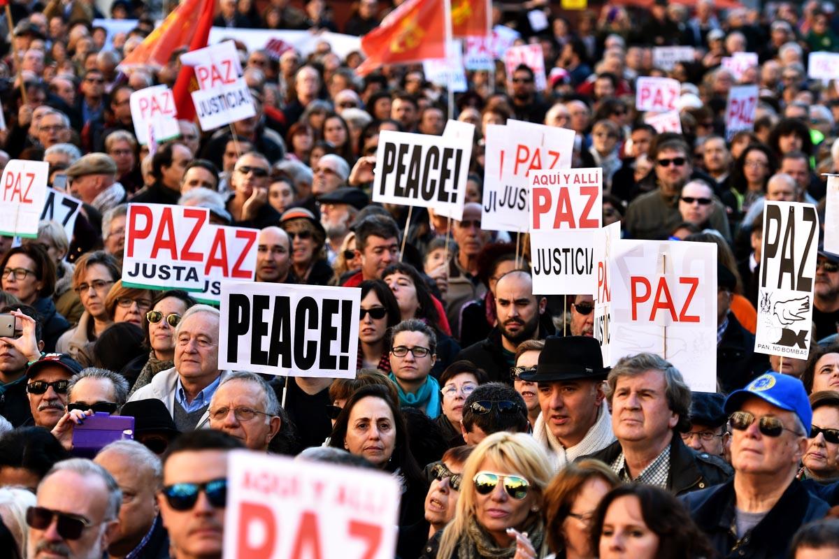 Manifestación en Madrid contra la guerra contra el Estado Islámico (ISIS). (Foto: AFP)