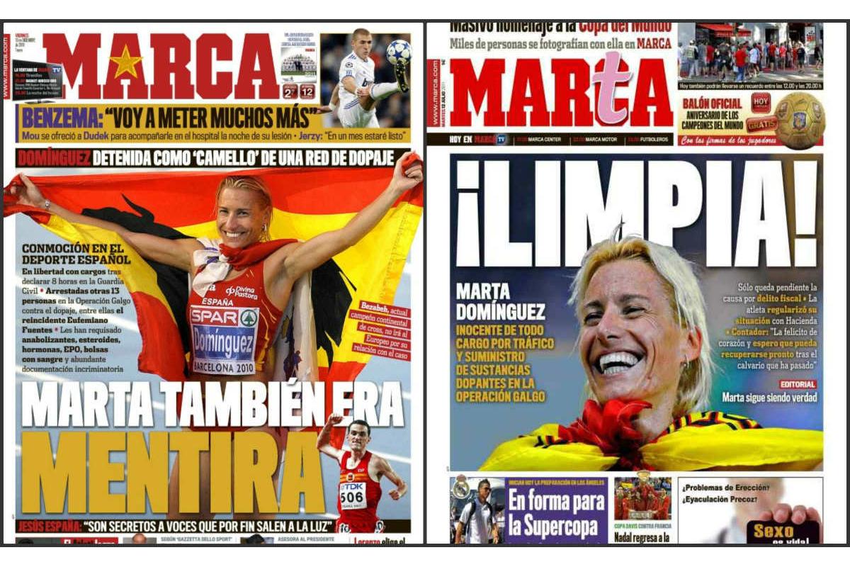 Bajo la dirección de Eduardo Inda, Marca ya avisó de la «mentira» de Marta Domínguez.