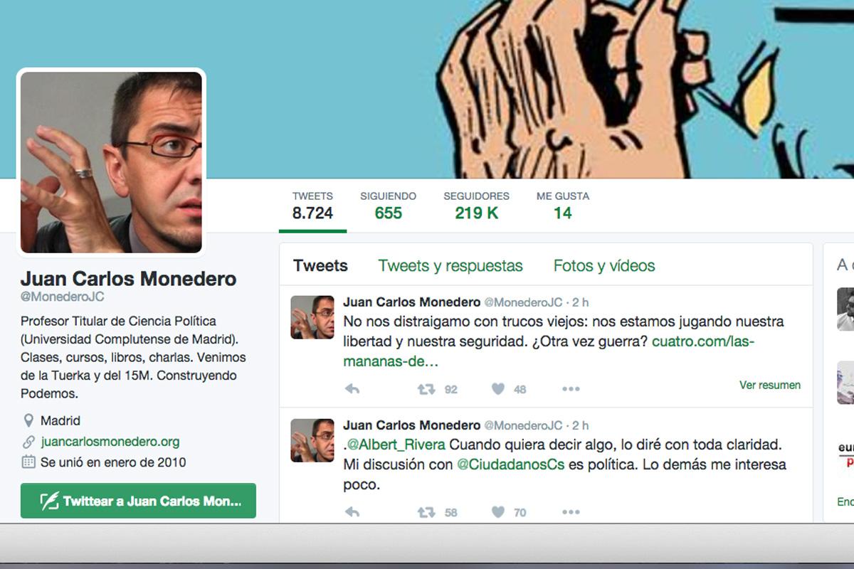 Cuenta de Twitter de Juan Carlos Monedero.