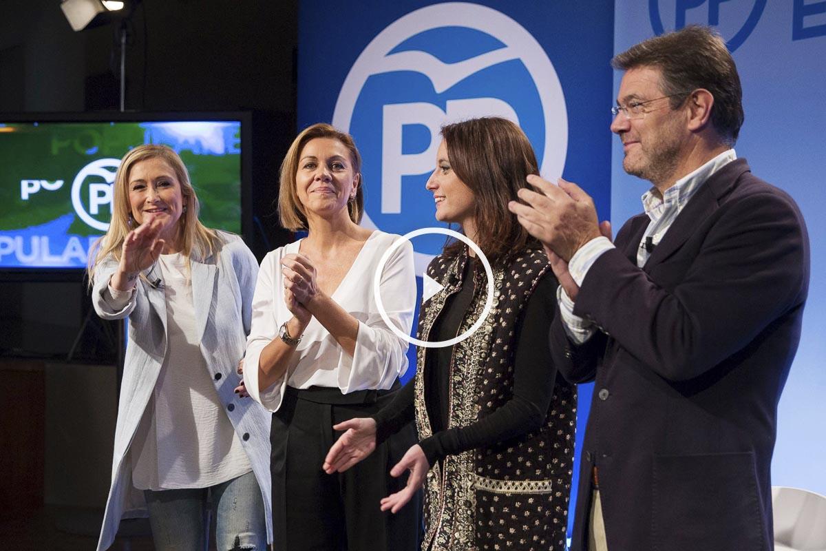 Cristina Cifuentes, María Dolores de Cospedal, Andrea Levy y Rafael Catalá en el acto de hoy del PP en la presentación de La España que queremos. (Foto: Partido Popular)