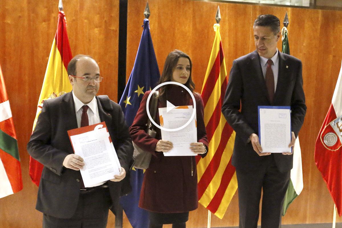 Miquel Iceta, Inés Arrimadas y Xavier García Albiol en el TC (Foto: Efe)