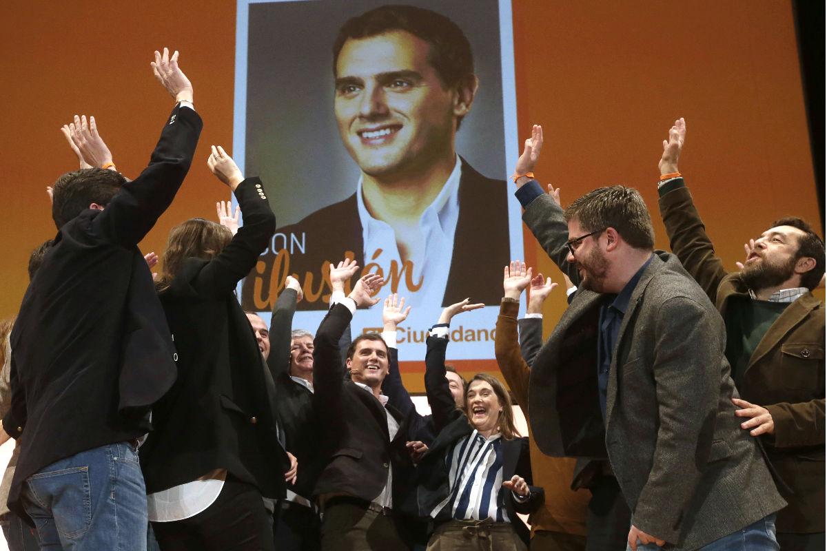 Rivera en la presentación de la campaña electoral de Ciudadanos (Foto: Efe)