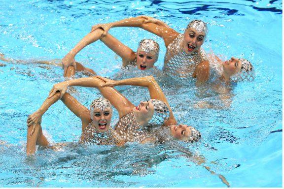 El equipo español de natación sincronizada en los Juegos de Londres. (Getty)