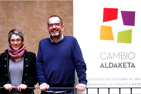 Los cabezas de lista de Cambio-Aldaketa, la candidatura formada por Podemos y Bildu en Navarra