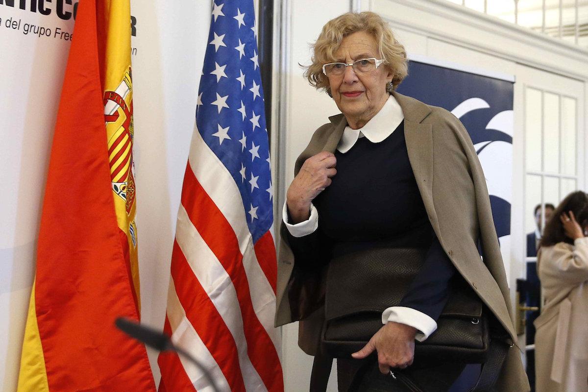 La alcaldesa Manuela Carmena, en la Cámara de Comercio de Estados Unidos en España