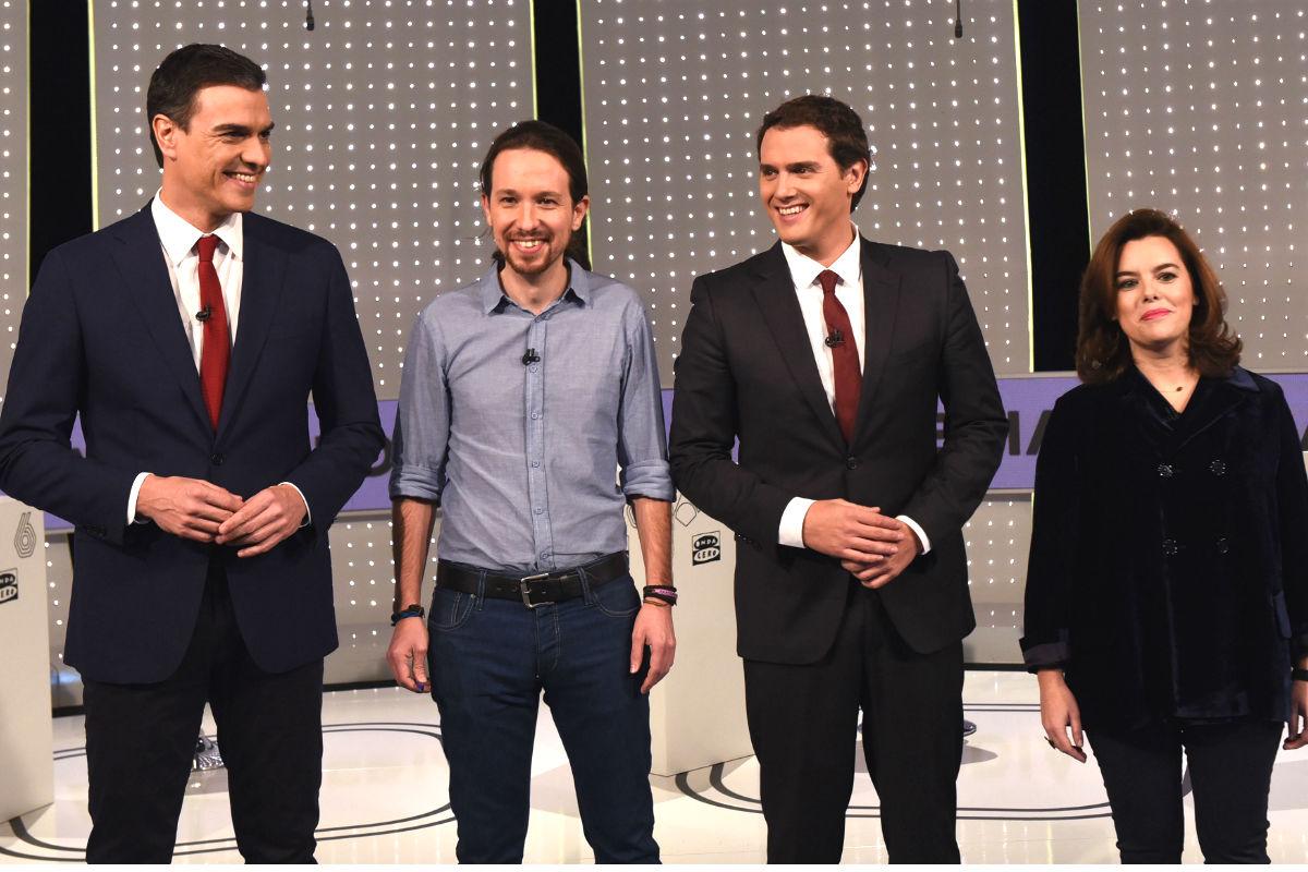 Los representantes de los cuatro partidos antes del debate (FOTO: Partido Popular)