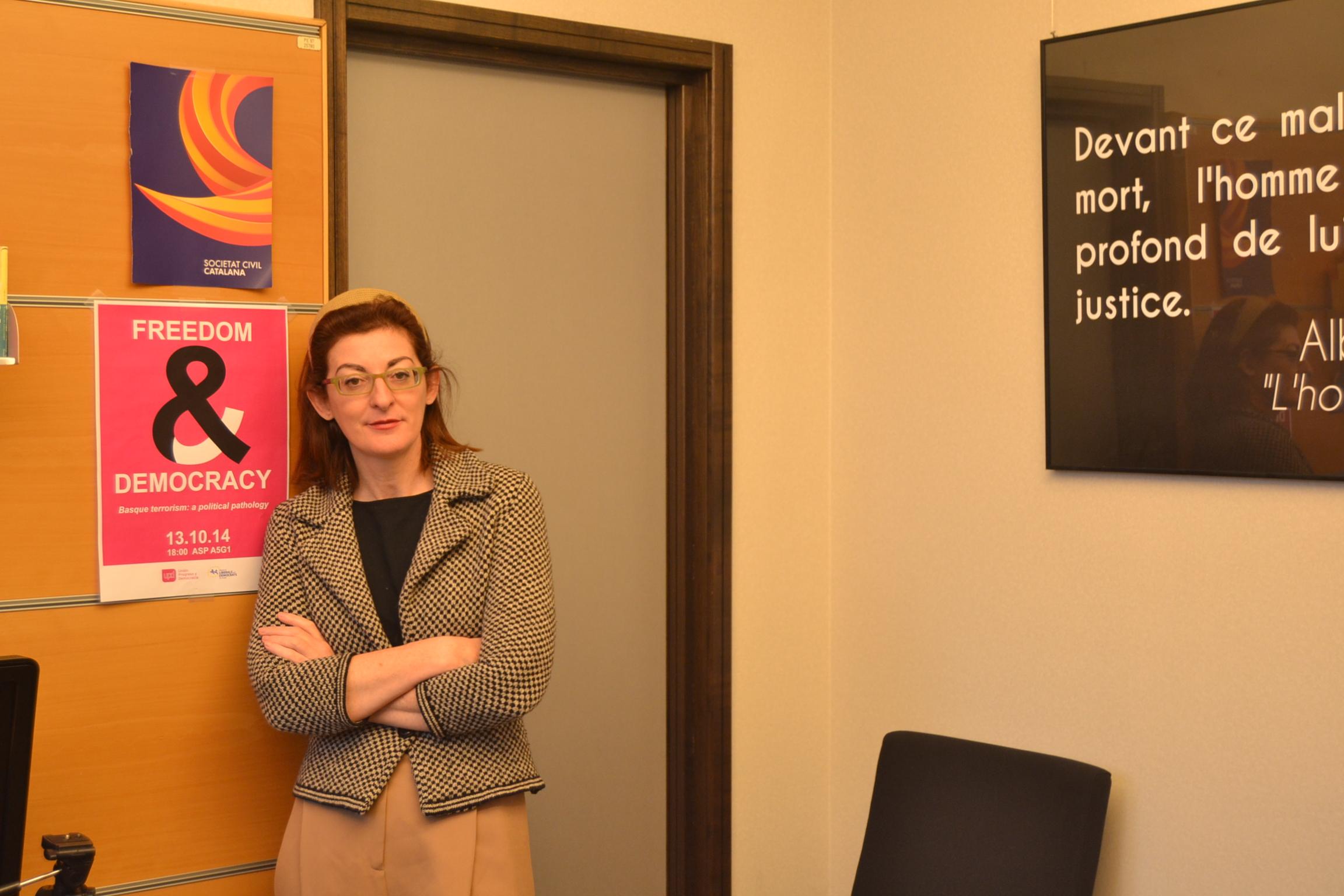 Maite Pagazaurtundúa en su despacho en Bruselas. (Foto: Fernán González)