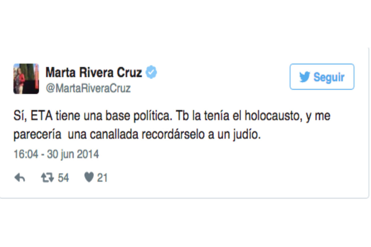 Tuit de Marta Rivera de la Cruz del 24 de junio de 2014