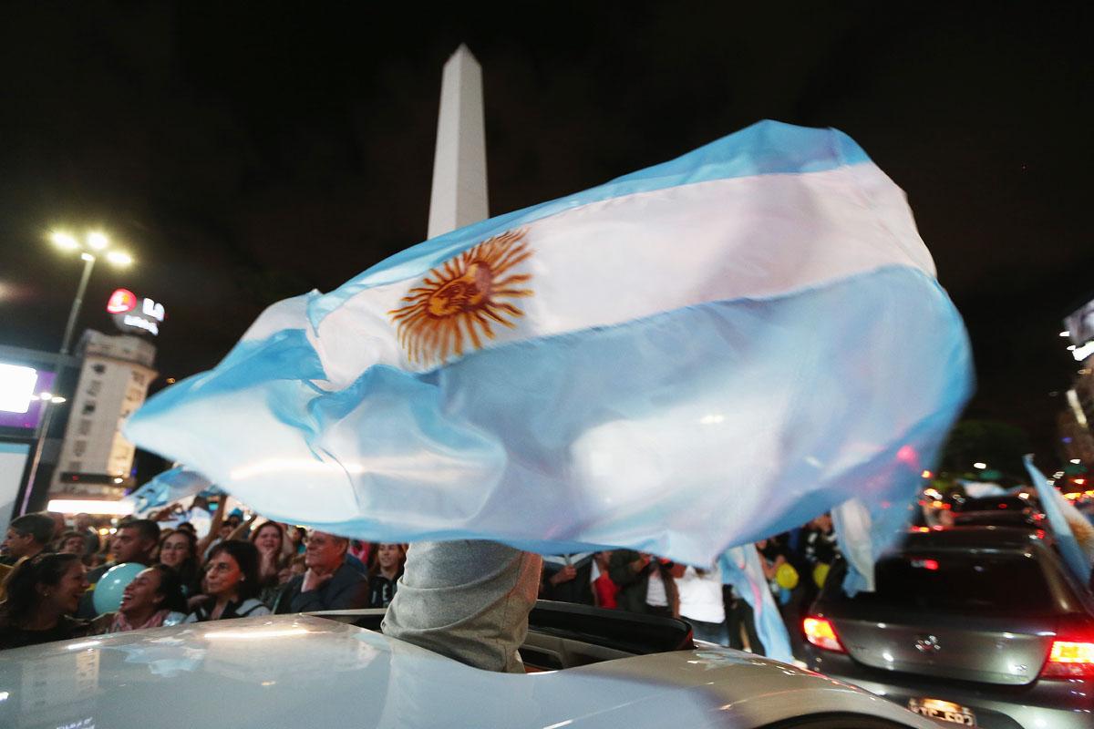 Celebración en la Plaza del Obelisco en Buenos Aires la noche de la victoria de Macri (Foto: Getty)