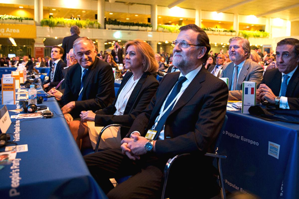 Rajoy, Cospedal y González Pons en la cumbre del PPE. (Foto: PP)