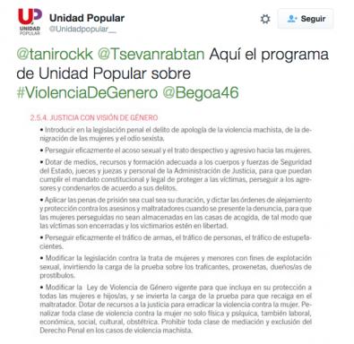 Tuit publicado por la cuenta oficial de Unidad Popular.
