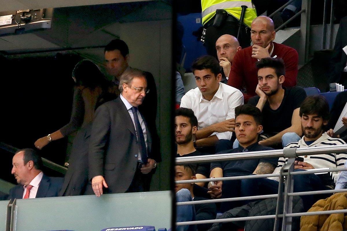 Florentino Pérez, Rafa Benítez y Zinedine Zidane, en el Palacio de los Deportes (Fotos: EFE)