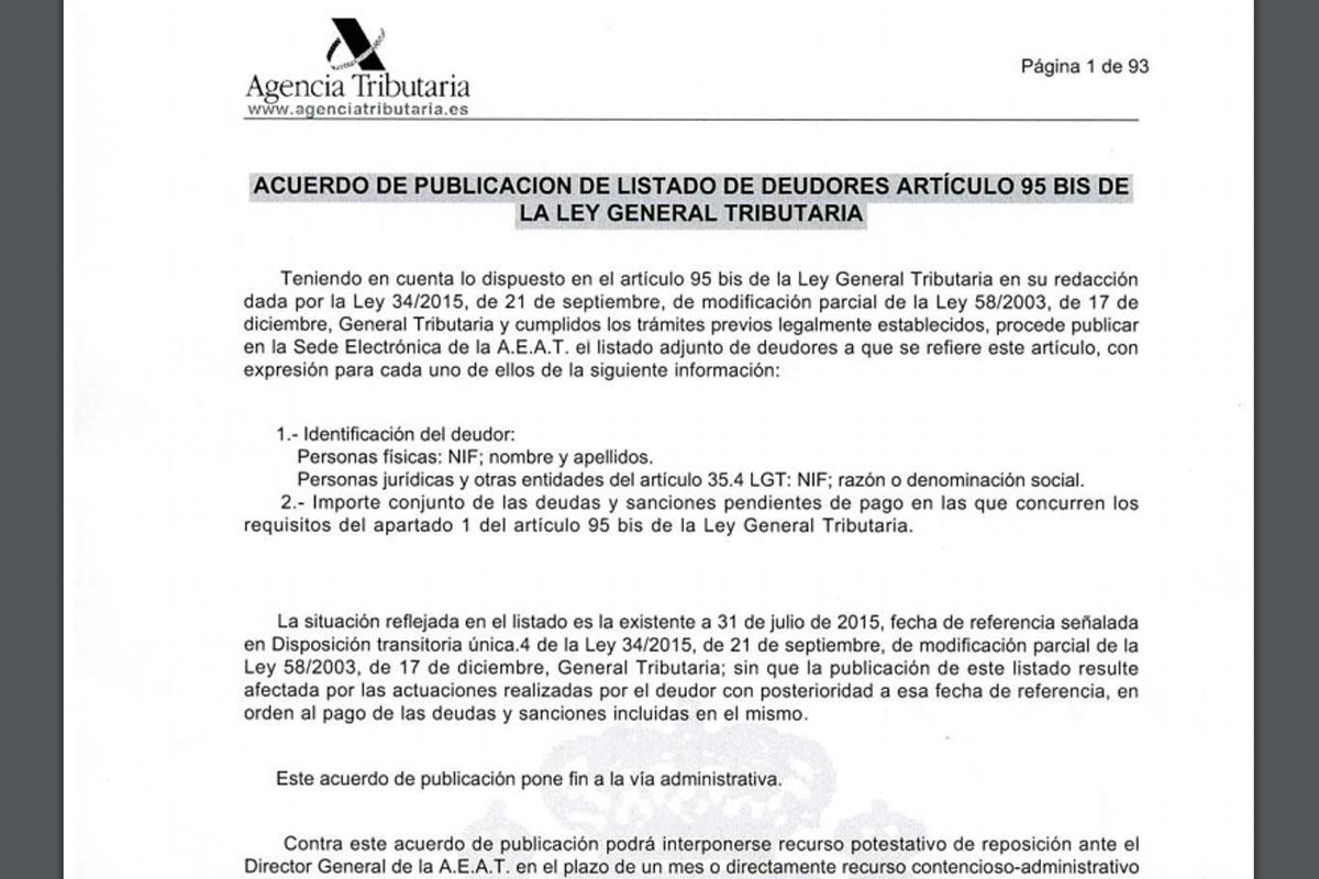 Lista de morosos de la Agencia Tributaria.