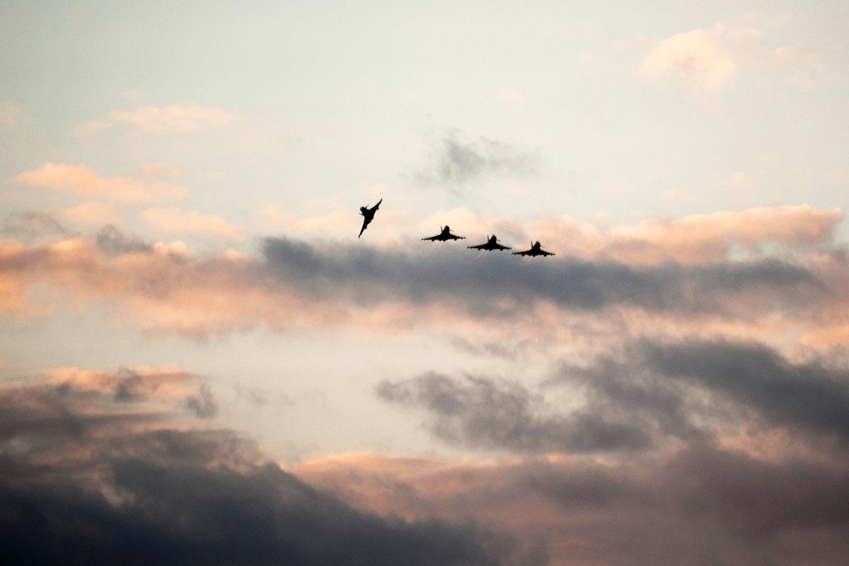 Cazas de las Fuerzas Aéreas británicas. (Foto: AFP)