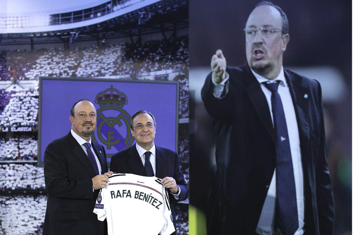 Rafa Benítez junto a Florentino Pérez el día de su presentación. (Getty)