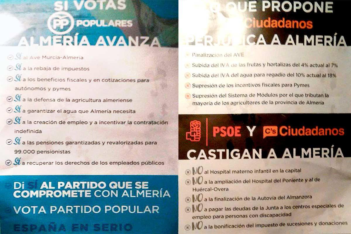 Caras A y B del folleto del PP de Almería.