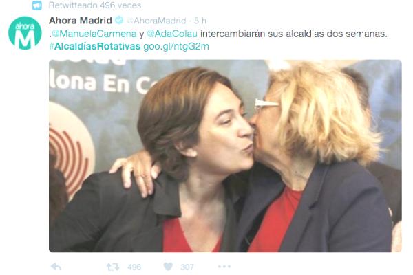 Tweet de Ahora Madrid que afirma que Ada Colau y Carmena van a intercambiar las alcaldías