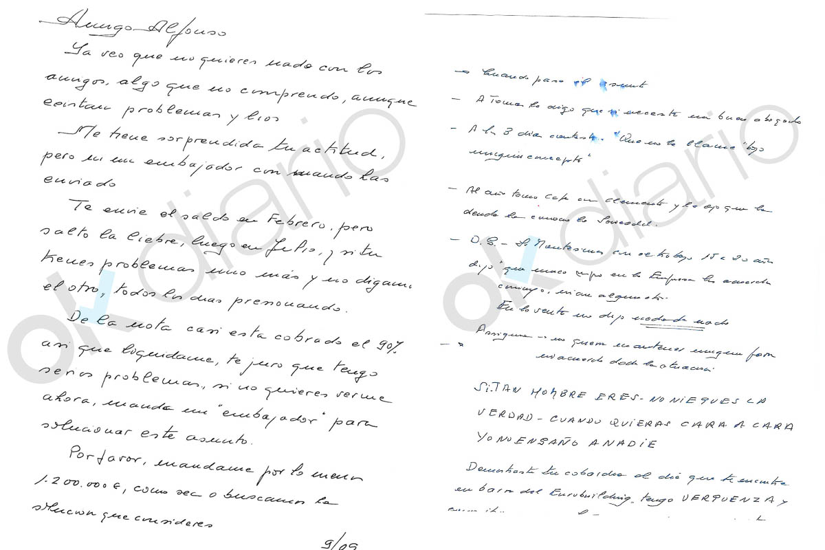 Carta enviada por el arquitecto municipal de Pozuelo a un constructor de la Gürtel. (Foto: Okdiario)