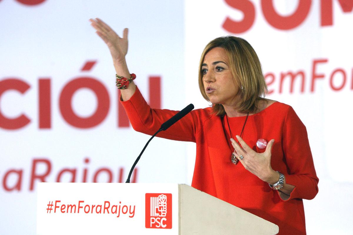 Carme Chacón en un acto de campaña en diciembre (Foto: Efe).